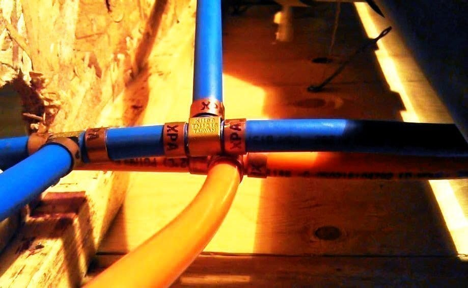 Kitec pipes coming out of a wall